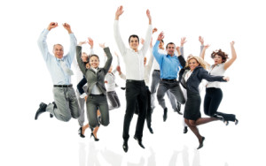 Successful business group jumping together.